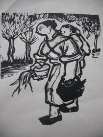 黑白木刻版画    《赶集》    尺寸:20X16厘米