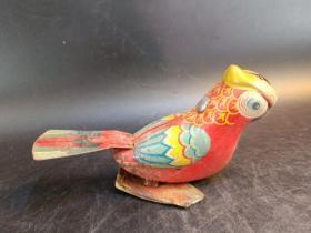 七八十年代铁具,漆手工画,上发条蹦蹦跳,小鸟玩具一件。20061807