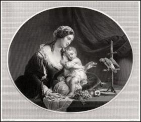 1845年雕刻+点刻钢版画《夫人和鹦鹉》,27×19cm
