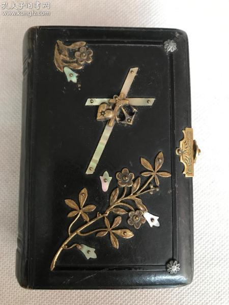 19世纪欧洲老版,书籍装帧的典范 羊皮压花天然螺钿纯铜花饰别扣《德文版圣经》巾箱小本一部全,精美绝伦,品好完整无缺。