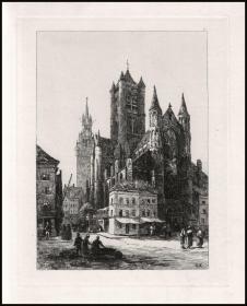 1878年原创蚀刻版画《比利时根特圣尼古拉教堂和钟楼》,35.8×26.3cm