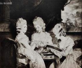 """1926年""""英国名人及肖像系列美柔汀铜版画""""《 沃尔德格雷夫的女士们》—英国皇家学院院长""""乔舒亚·雷诺兹爵士(Sir Joshua Reynolds, 1723-1792)""""作品 V.GREEN 雕刻 38x28cm 手工水印纸 高档美柔汀铜版画"""