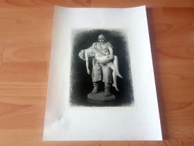 19世纪木刻《雕塑 -- 生命中的浪花》(Aus der Brandung des Lebens) -- 后背纸张42*30厘米,木刻纸张26.5*19厘米