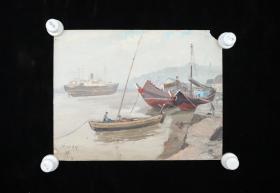 """老油画家、上海美协会员 王祖升 1977年油画作品""""泊船""""一幅(尺寸:28*36cm) HXTX316145"""