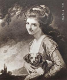 """""""乔治 罗姆尼Romney""""名画1926年""""英国名人及肖像系列美柔汀铜版画""""《汉密尔顿夫人》—英国肖像大师""""乔治 罗姆尼George Romney, 1734-1802""""作品  H.MEYER 雕刻 38x28cm 手工水印纸 高档美柔汀铜版画"""