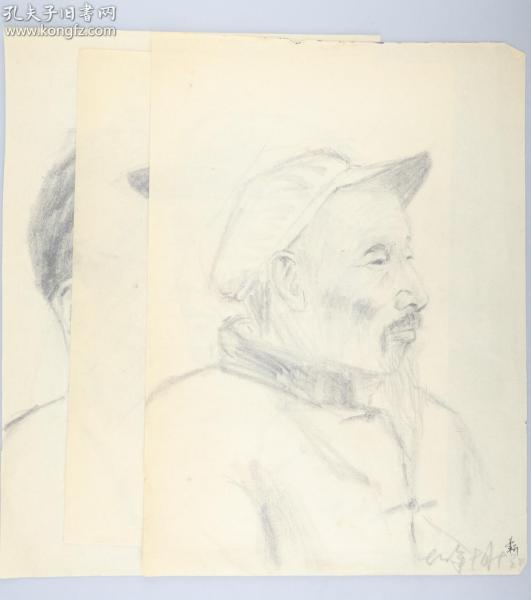 著名画家 靳军 1978年 速写人物 一组三张(尺寸:33.5*24cm*3)HXTX314769