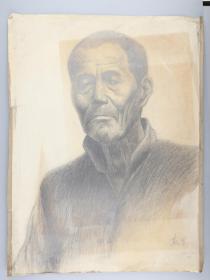 著名画家 靳军 1982年 素描中年男子 一幅(尺寸:53*40.5cm)HXTX314762