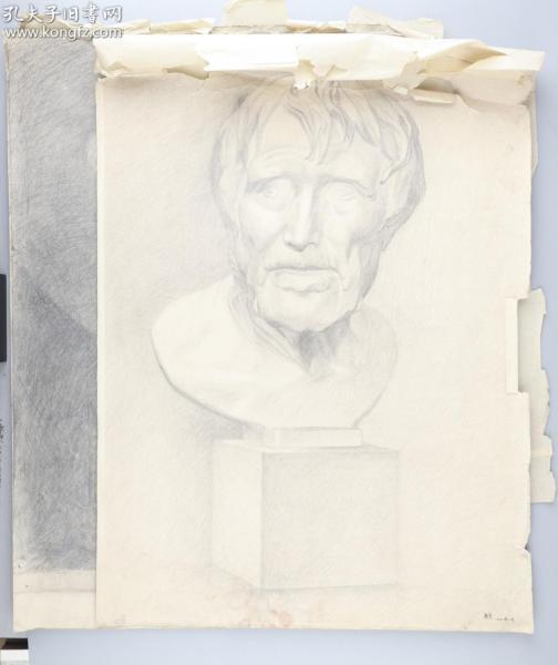 著名画家 靳军 1978年 素描石膏像 一组两张(尺寸:53*39.5cm*2)HXTX314763