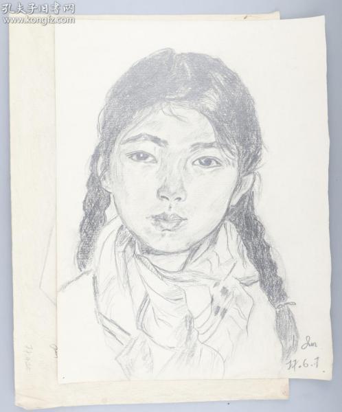 著名画家 靳军 1977年 素描女孩、静物 一组两张(尺寸:36*27cm*2)HXTX314765