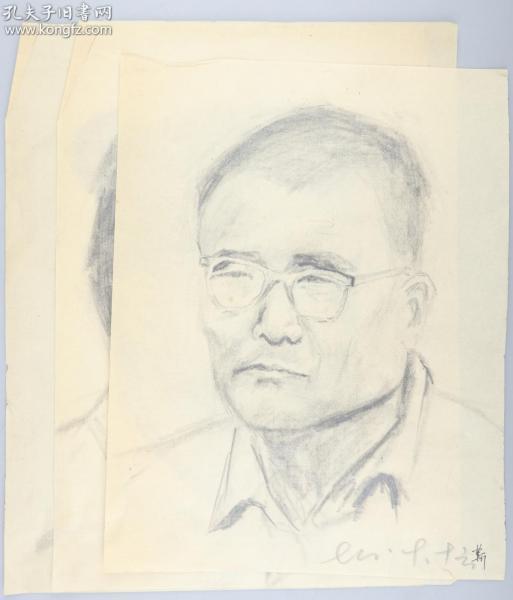 著名画家 靳军 1978年 速写人物 一组三张(尺寸:33.5*24cm*3)HXTX314770