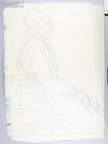 著名画家 靳军 速写人物 一组三张(尺寸:65*43cm*3)HXTX314771