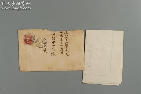 清末民初 日本在华客邮上海寄日本香川实寄封一枚 带原函(贴日本邮票1枚,销日本在华上海客邮局邮戳戳,有日本到达戳) HXTX177475