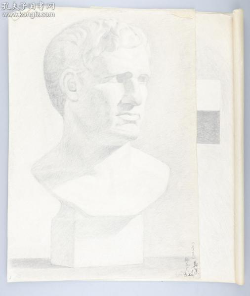 著名画家 靳军 1978年 素描石膏像、石膏体 一组两张(尺寸:39*27cm*2)HXTX314766