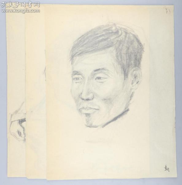 著名画家 靳军 1978年 速写人物 一组三张(尺寸:33.5*25.5cm*3)HXTX314767