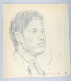 著名画家 靳军 1978年 速写人物 一组三张(尺寸:33.5*25cm*3)HXTX314768