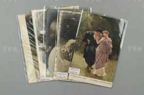 清末 贴沙俄在华客邮邮票 美女照片及名画实寄明信片5枚(两枚为银盐基照片) HXTX177313