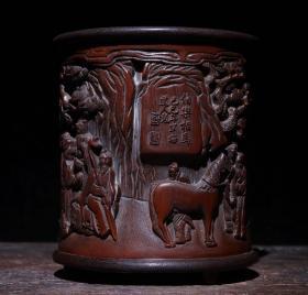 老竹木手工雕刻伯乐相马竹雕笔筒摆件雕工精湛包浆完美