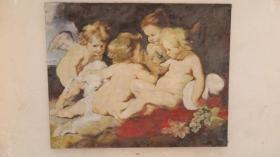 原框 小天使油画一幅 带有画家赠与北新桥幼儿园字样  尺寸100*79厘米
