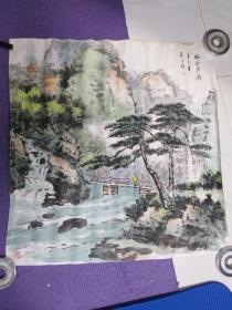 著名画家。朱运期 国画一幅 ,幽谷声涛。。68厘米68厘米软片