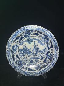 老青花瓷人物瓷盘赏盘摆件