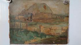 约5-60年代 落款为斯百 油画作品一幅 画心尺寸42*33厘米