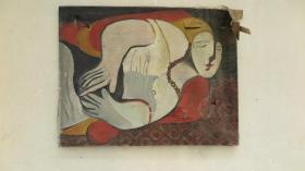 原框 約80年代原裝原框  人物油畫一幅 應為名家 畫心尺寸80*62厘米 畫面破損撕口