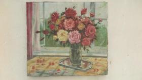 1979年代落款为 鸿涛  瓶花  油画一幅  画心尺寸57*63厘米