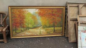 约 90年代   风景  大幅油画一幅  画心尺寸150*80厘米