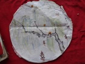 民国老画一张,圆形,直径31.5cm,品好如图。