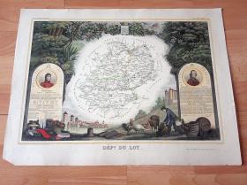 1849年手工上色铜版雕刻地图《洛特省行政地图,法国南部-比利牛斯大区》(DEPT DE LOT)-- 地图部分选自17世纪法国著名工程师和制图师,纪尧姆·勒瓦瑟 (Guillaume Levasseur de Beauplan,1595-1685)绘制的《法国国家地图集》 -- 洛特河纵贯全省,当地以洛特河谷的瑰丽风光而闻名 -- 地图尺寸53*36厘米