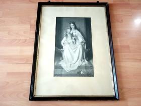 19世纪巨幅照相凹版《王冠圣母与圣子》 (The crown virgin of Madonna and the son of God)-- 原木老画框77*49.5厘米 -- 非常精美