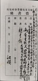 江-瀚旧藏:近现代著名教育家、学者、诗人 江瀚 毛笔签名民国时期借书条一张(正反两面均有江瀚毛笔手迹)HXTX316095