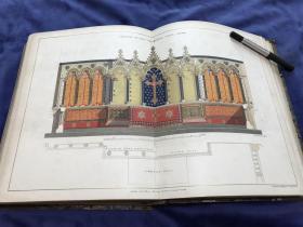 1845年《建筑学季刊》含29幅套色石版画+27幅半色调石版画+20张整幅或对开页石版画或插图 29.6*24厘米 重2.43公斤 卷三