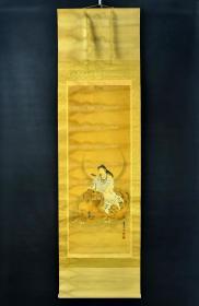 (VH3632)石上博云(1841 - 1925年)法号宗随 号博云 森田光临寺住职 善画达摩住持 绢本手绘《菩萨像》装裱立轴画一幅 绫裱 两侧无轴头 钤印 画心尺寸:120CM*44CM 立轴尺寸:196*56cm。