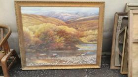 约 80年   风景  大幅油画一幅  画心尺寸116*94厘米