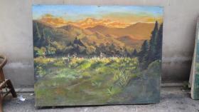 80年代   风景 尺幅巨大 油画一幅  尺寸180*140厘米