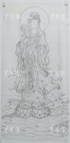 【谢-闲-鸥、谢-采-琴父女旧藏】1990年 画稿《杨柳菩萨像》一幅(纸本软片,约8.1平尺,无署款)HXTX316453