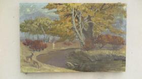 1993年  艾中信繪油畫一幅 風景 背面帶有畫家贈與字樣   尺寸85*56厘米