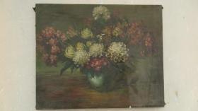 约5-60年代   花卉油画一幅    尺寸50*60厘米