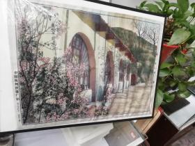 文革时期杭州织锦厂,彩色丝织画,包老保真,《延安枣园》,38×53厘米,尺寸较大,品佳