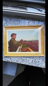 保真文革时期,铁皮画,毛主席检阅红卫兵