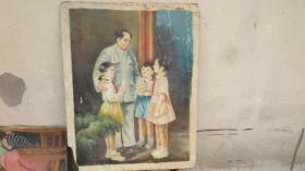 五十年代  毛主席和小朋友在一起  水粉畫粘在木板上 尺寸69*88厘米