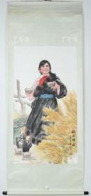 上海书画社出版精印 中国工笔画会副会长、四川省美协副主席朱理存 及著名画家杨孝丽 1973年 画作《叔叔喝水》一幅(纸本立轴,尺寸117.5*63.5cm)HXTX316290