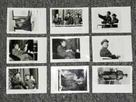 袖珍老照片:  毛主席、林副主席、周总理在天安门城楼上等   9枚合拍, 品如实图!