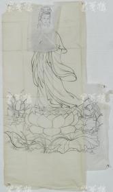 【谢-闲-鸥、谢-采-琴父女旧藏】画稿《莲花观音像》一幅(纸本软片,约5.1平尺)HXTX316454