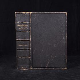 重2.5公斤大开本 约19世纪中期 圣经 近百幅精美版画插图 全真皮精装