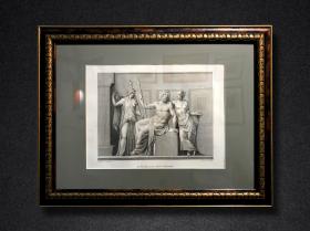 【女神专题】1819年铜版画《宙斯与女神》,60.5×44cm(带框)