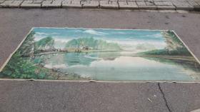 80年代 水粉布制巨幅国画   漓江风景 尺寸280*132厘米