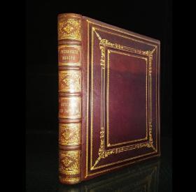 约1880年,'CASSELL'单卷版本《风景如画的欧洲》1册全,33*25*4.5cm/3.5kg,288p,全皮特装本,三口刷金。全页钢版画13张;木口版画约40张;文中大量木版画插图。
