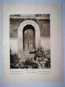 192几年书页照片,一张两幅《北京 风神庙门;北京 通往运河水闸的石兽》尺寸30.5*23.3厘米--由德国建筑师恩斯特.伯施曼(1873-1949年)拍摄